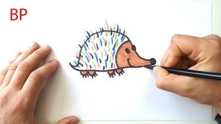 Волшебные рисунки - Как нарисовать ЁЖИКА - мультик Раскраска для детей