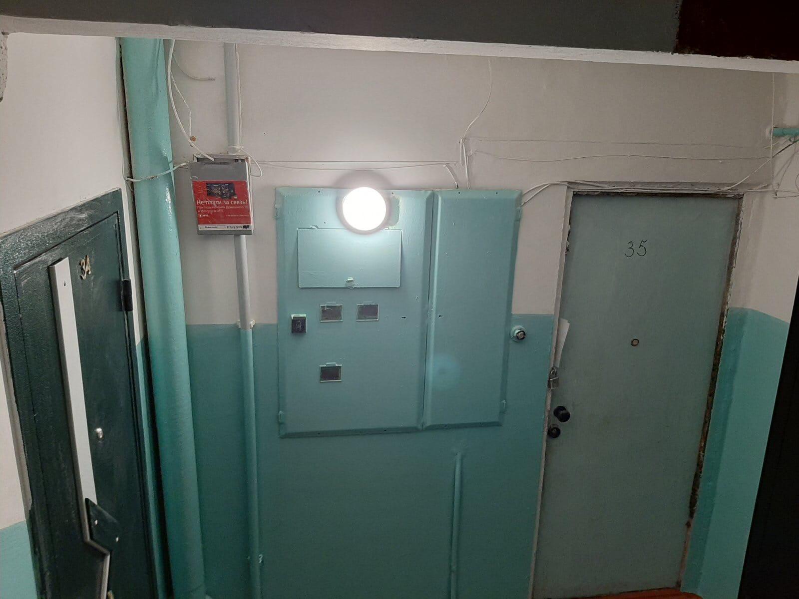Замена приборов освещения в подъезде 3 Московская