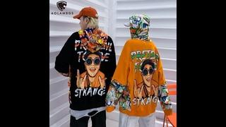 Мужская толстовка в стиле хип хоп aolamegs, разноцветная толстовка пуловер с большими карманами и принтом в стиле пэчворк, 2021