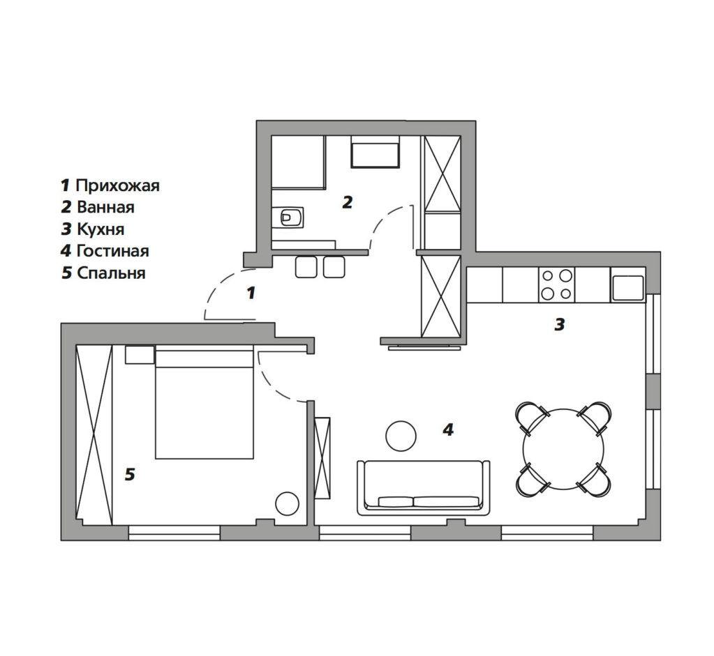 Квартира для мамы по проекту Арианы Ахмад, 43 м²