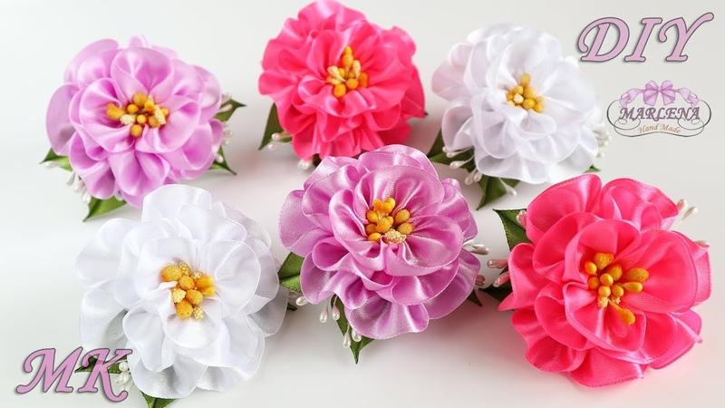 ✿ Цветы из атласных лент Резиночки для волос Канзаши МК DIY