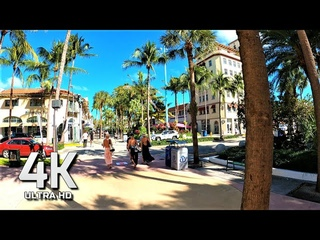LINCOLN ROAD MALL TO  THE BEACH FEB 2021 4K ULTRA HD 60FPS SOUTH BEACH FLORIDA USA AΩ