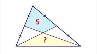 Найдите площадь треугольника на рисунке, если площадь четырёхугольника равна 5 ★ Быстрый способ
