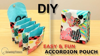DIY Easy & Fun Accordion Pouch | 5 Pockets Pouch Bag Sewing Tutorial [sewingtimes]