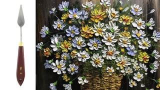 Challenge #19 | Pretty hanging basket of wild flowers Heavy body ACRYLIC Paint