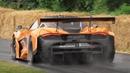 McLaren 720S GT3 Sound Accelerations Burnouts on Wet
