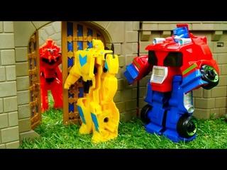 Трансформеры видео игра - Автоботы Бамблби и Оптимус на осаде Замка Десептиконов! Игры битвы роботов