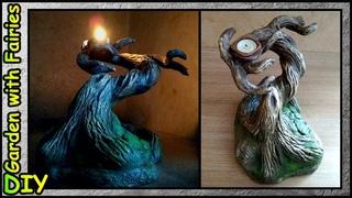 DIY Подсвечник БОНСАЙ. Имитация Старого Дерева из мусора.