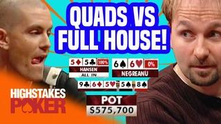 Gus Hansen Hits Quads Against Daniel Negreanu   High Stakes Poker