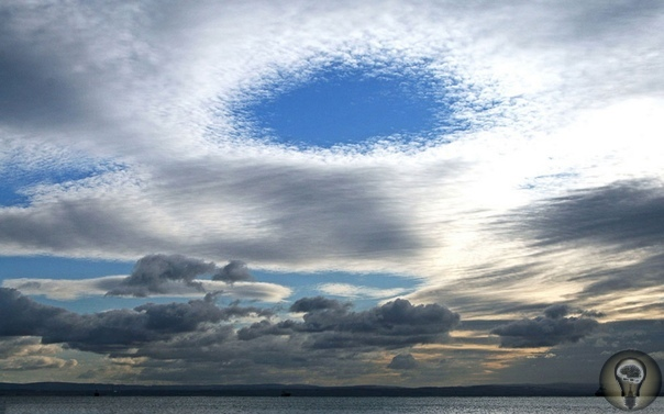 Эффект Fallstrea Этот редкий эффект можно наблюдать в перисто-кучевых облаках большой круговой разрыв, который называют Fallstrea. Дыры в облаках вызваны падающими кристаллами льда. Кристаллы