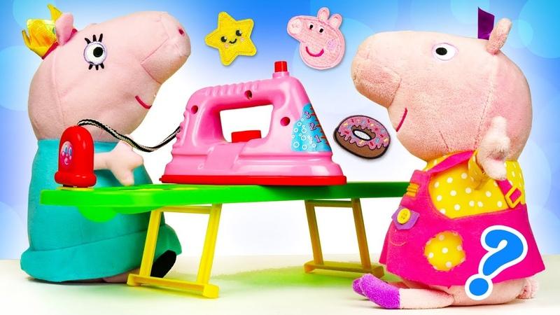 Çocuklar için Peppa Pig çizgi film oyuncak videoları Anne Domuz elbiseye çıkartma yapıştırıyor