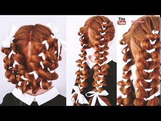 Детская причёска из кос с лентами. Причёски на 1 сентября, последний звонок