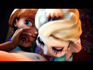 Anna x Elsa - group sex; oral sex; minet; blowjob; deepthroat; facefuck; licking; lipfuck; 3D sex porno hentai; [Frozen]