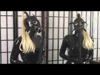 Latex gasmask catsuit girl