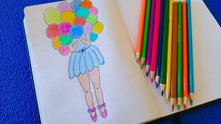 Простые рисунки. Как нарисовать девочку с шарами. Рисунки карандашом.Рукоделие.
