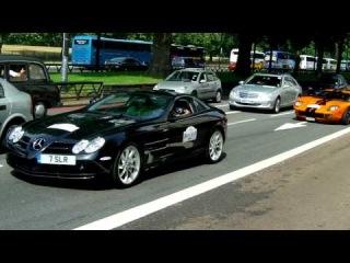 GOLD BUGATTI VEYRON ACCELERATION! , MCLAREN SLR WHEELSPIN CRAZY DRIVING- LONDON SUPERCARS