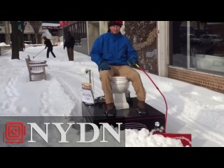 "Meet ""Loo-cy,"" the Motorized Toilet Snow Plow"