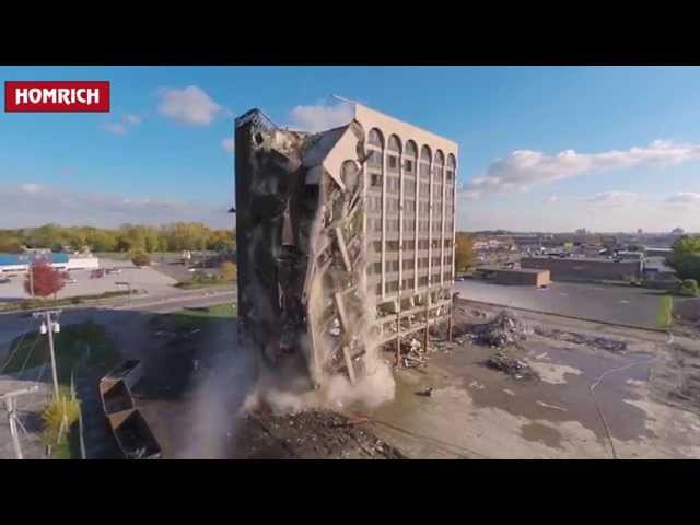 Clarion Hotel Toledo Homrich Demolition Detroit Drone 4k