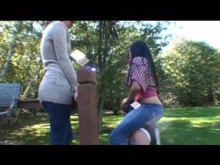 Christina and angelina backyard pony play