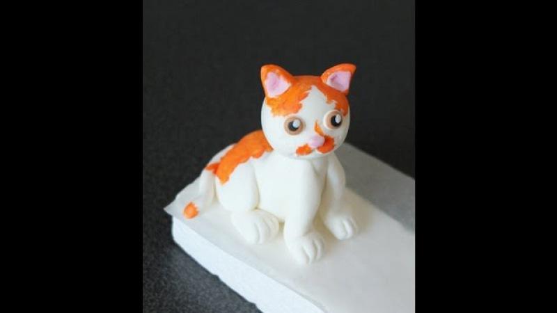 How to make a fondant cat tutorial Jak zrobić kota z masy cukrowej