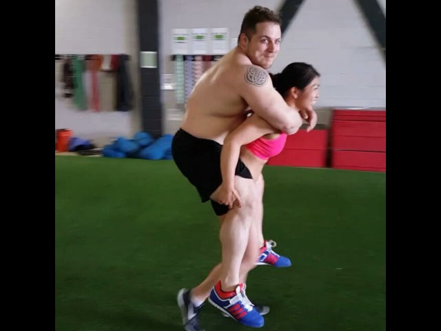 """Victoria Liang 🐻🐼🐨 on Instagram: """"@zebruh_love didn't believe I could carry her 280 lb strongman competitor bf @zgalls but I was a mule in another life and this was 🍰. My…"""""""