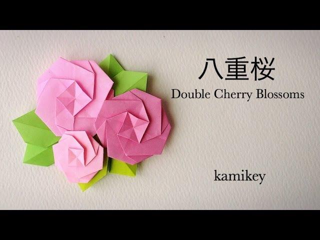 折り紙*八重桜 Origami Double Cherry Blossoms 櫻花雪 カミキィ kamikey