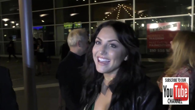 Cassie Scerbo talks about possible Sharnado sequel Shimpnado outside ArcLight Theatre in Hollywood