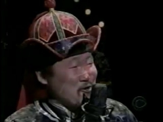 Kongar-ol Ondar appears on the Late Show with David Letterman on February 12, 1999.