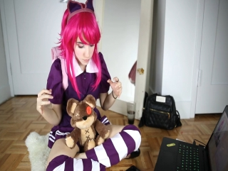 Annie tease and masturbates cosplay.  league of legends sex, hentai, porno. lana rain