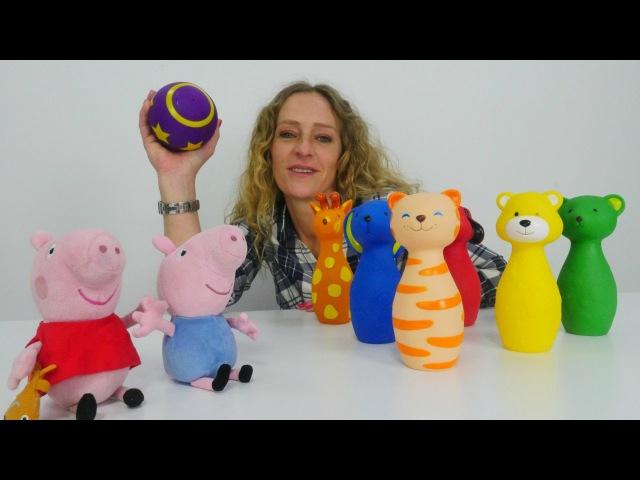 Eğiticivideo Çizgi filmden Peppa ve George ile bowling renkleri öğreniyoruz Çocukoyunları