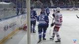 Моменты из матчей КХЛ сезона 1415 Удаление. Шенфельд Антон (Лада) наказан двойным малым штрафом за игру высоко поднятой клюшк