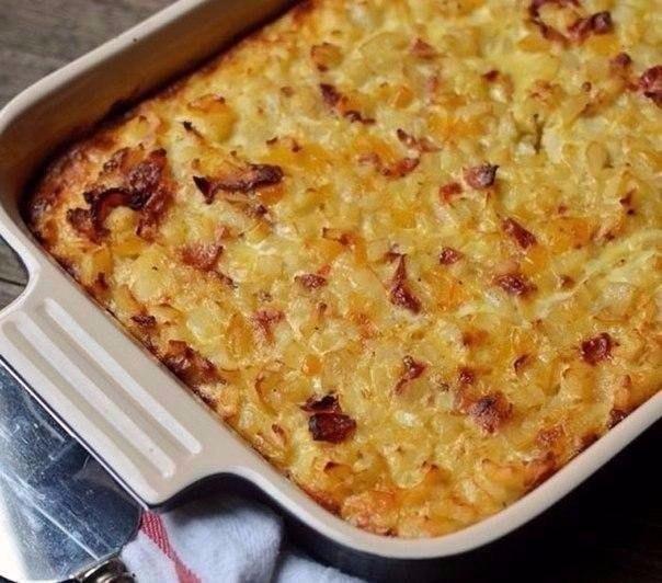 Запеканка бекон картофель сыр