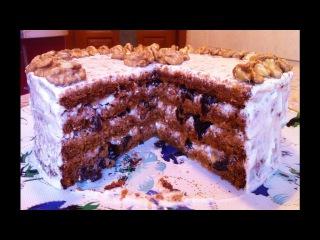 Торт Бисквитный Медовик со Сметанным Кремом с Черносливом и Грецкими Орехами / Honey Cake / Medovik