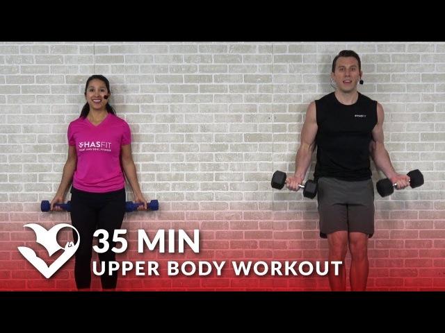 HASfit Body Workout at Home for Women Men Спокойная силовая тренировка для верхней части тела с гантелями