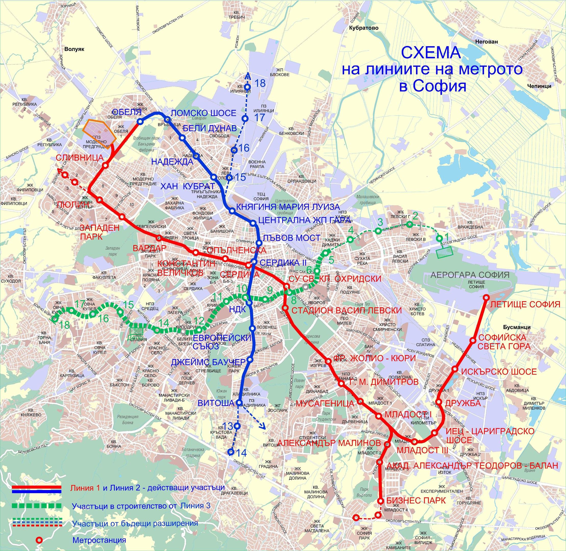 Схема метрополитена Софии