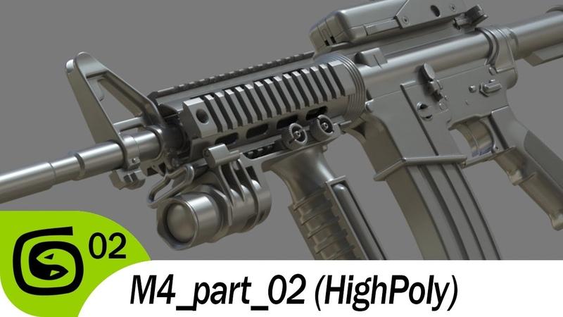 M4 carbine part 02 (Highpoly)