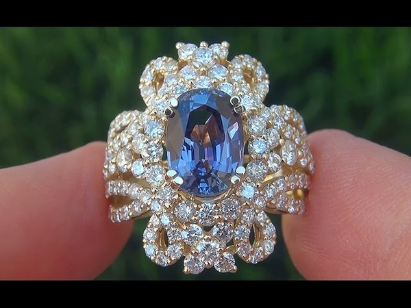 GIA Certified UNHEATED Natural VVS2 Color Change Sapphire Diamond 18k Gold Ring - C570