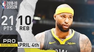 DeMarcus Cousins (21 Pts, 10 Reb) Full Highlights Warriors vs Lakers | Apr. 4, 2019 | NBA Season