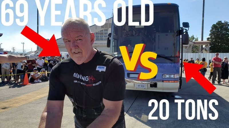 Legendary Odd Haugen Proves That Age Is Just A Number! - Heavy Bus Pull Full Of People In Tokyo