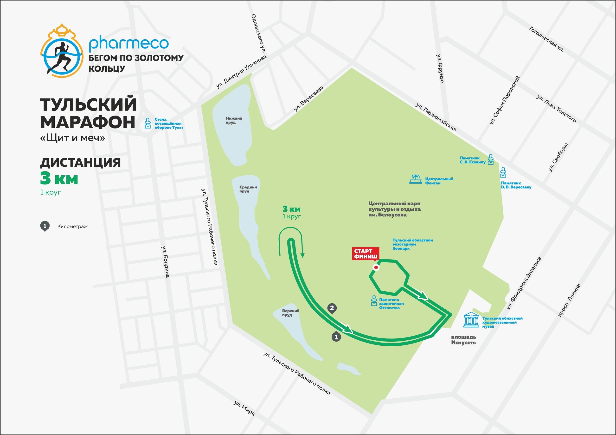 Дистанция 3 км Тульского марафона