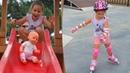 На детской площадке с Беби бон и Софийка учится кататся на роликах