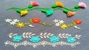 Plain Hand Embroidery,Bead embroidery,Cute Borderline Embroidery tutorial,फूल डिजाइन,ফুলের নকশা