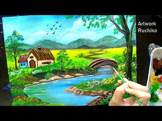 Beautiful Village Scenery with River and Bridge | Acrylic Painting Tutorial