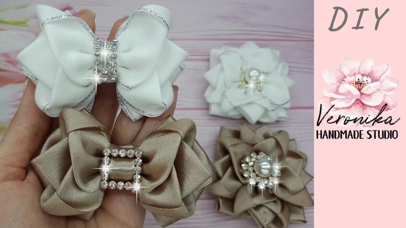 Стильные бантики Крокусы в комплект к школьной броши МК 🎀 Chic ribbon Bow DIY🎀 Laço flor de fita n 9
