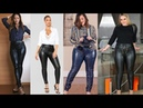 Leather pants outfit ideas Women's fashion inspiration Leather leggings style