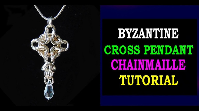 HOW TO MAKE A CROSS PENDANT USING BYZANTINE CHAINMAILLE WEAVE