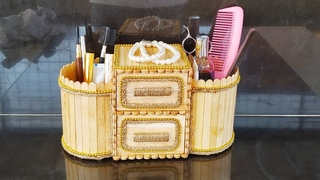 DIY . Make up Box made from Jute Rope and Popsicle Sticks . Jute Jewellery Box . popsicle Crafts