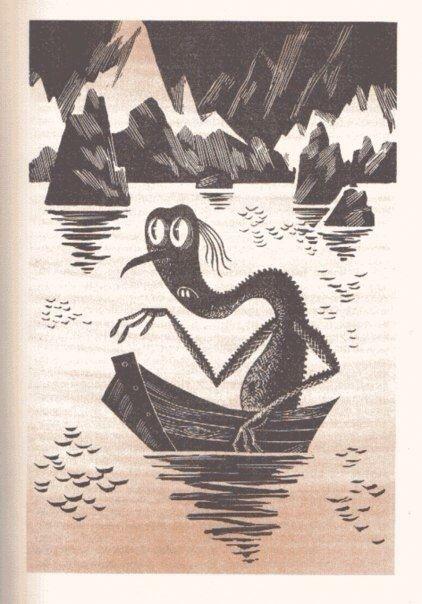 Иллюстрации Михаила Беломлинского к Хоббиту Джона Толкина, 1976 г. И да, Бильбо нарисован с Евгения Леонова
