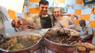 Morocco Street Food - HALAL STREET FOOD in Fes!! BEST Moroccan Couscous + Eating Camel Meat!