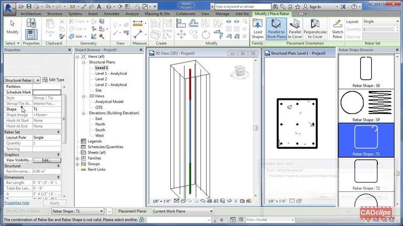 REVIT Structure Rebar Reinforcing Stirrup Placement Tips CADclip